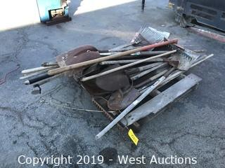 Pallet Of Hand Tools; Shovels, Rakes, And More
