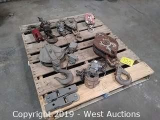 Pallet of Hooks, Pulleys & More
