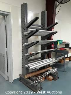 8' Tall Material Rack of Aluminum Rod Stock (Rack and Contents)