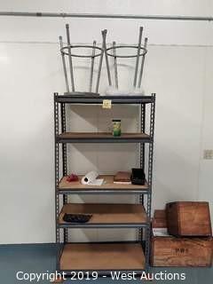 6' Tall Shelf Rack and (2) Stools