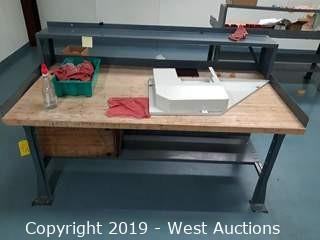 6' X 3' Wood Top Work Bench (Contents Included)