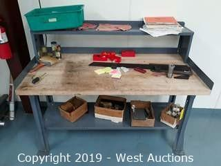 6'x3' Wood Top Work Bench (Contents Included)