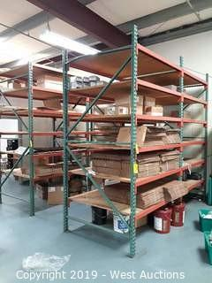 Contents of (4) Sections of Pallet Racking: Boxes, Coolant, Parts and More
