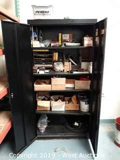 6' Steel Storage Cabinet with Assorted Parts and Tooling