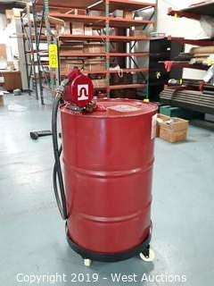 Barrel of Mobil Vactra Oil No.2 with Barrel Cart and Fill-Rite Barrel Pump