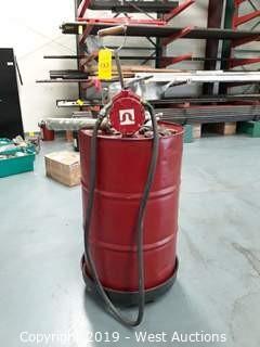 Barrel Of Humble Hydraulic H 32 with Barrel Cart and Fillrite Barrel Pump