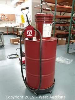 Barrel Of Mobil Velocite No. 3 with Barrel Cart and Tuthill Barrel Pump