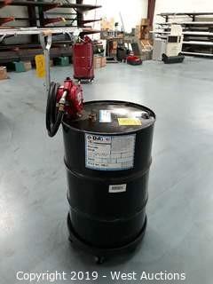 Barrel Of D-A 54432 Way Lube with Barrel Cart And Fill-Rite Barrel Pump