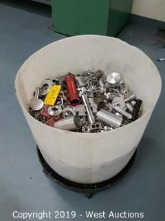 Aluminum Scrap in Half Barrel on Barrel Cart
