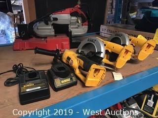 DeWalt Tool Set; (2) Circular Saws, (1) Grinder, And (2) Chargers