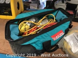 Bag With (3) Portable Work Lights, Extension Plugs, And More