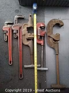 Bulk Lot: (2) Pipe Wrenches & (3) Pipe Cutters