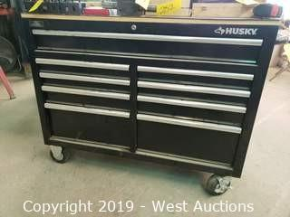 Husky 9-Drawer Mobile Tool Box and Contents