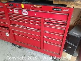 "Husky 41"" 13-Drawer Red Rolling Tool Box with Contents"
