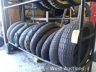 Shelf of (11) Assorted New or Used Motorcycle Tires