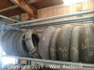 Shelf of (10) Assorted New & Used Motorcycle Street Tires