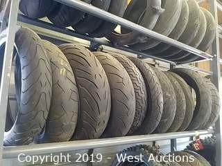 Shelf of (12) Assorted New & Used Motorcycle Street Tires