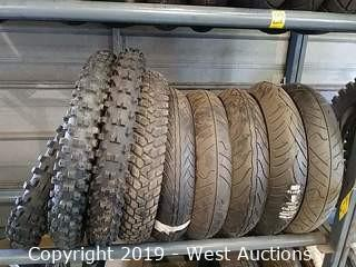 Shelf of (9) Assorted New & Used Motorcycle Tires