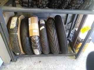 Shelf of (6) New Assorted Motorcycle Street Tires