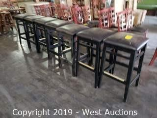 (7) 3' Black Stools with Brown Upholstered Tops