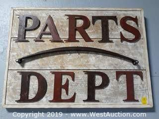 "Custom 44""x32"" Wood/Steel Parts Department Sign"
