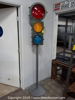 Vintage Traffic Light With Stand
