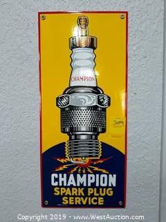 Champion Spark Plug Sign