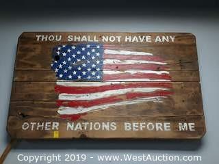 "68""x38"" Custom Wood American Flag Sign"