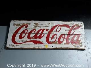 "56""x24"" Custom Wood Coca-Cola Sign"