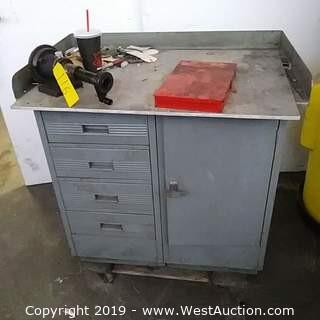 Metal Drawered Work Bench with Contents and Furniture Dolly