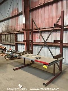 (1) 6'x9' Metal Rack With Table Shelf