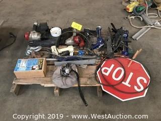 Pallet Of Tools And Hardware; Nailguns, Caulking Guns