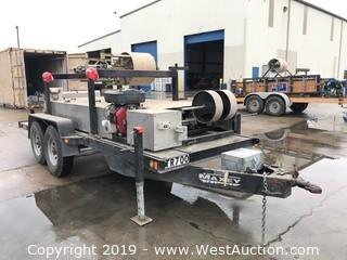 14'x5' Maxey Trailer with NTM Roof Panel Roller Machine