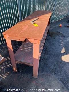 Steel Work Table with Storage Shelf