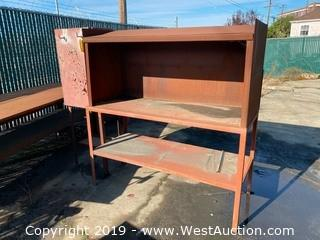 Steel Work Table with Attached Storage Cabinet and Shelf