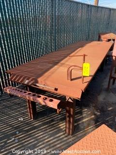 Steel Work Table with Attached Clamp and Storage Shelf
