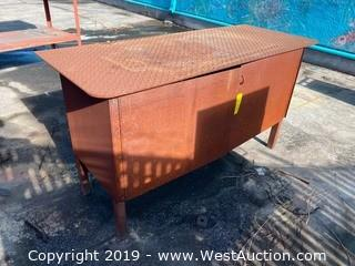 Steel Work Table with Storage Cabinet