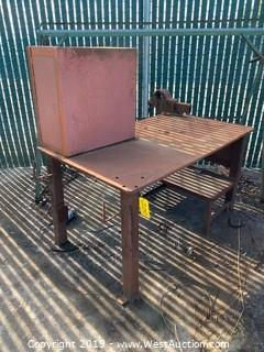 Steel Work Table with Attached Storage Cabinet and Vise