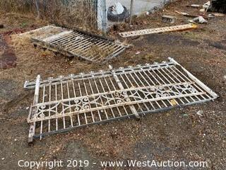 (2) Sections of Ornamental Metal Fence Panels with Gate
