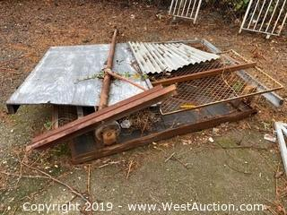 Wooden Flatbed Cart and Assorted Steel Scrap Pipe/Screen