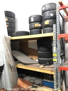 Contents Of Pallet Rack; (18) Tires, Hand Tools and More
