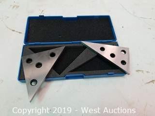 (2) Machinist's Solid Angle Blocks in Plastic Storage Case