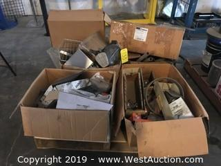 Pallet With Assorted Hardware, Protective Mask, And More