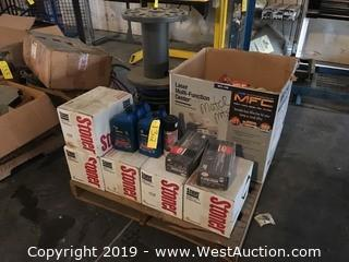 Pallet With Transmission Fluid, License Lamps, Tubes, And More