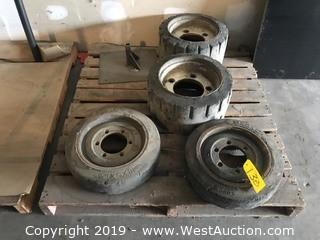 Pallet With (4) Forklift Tires
