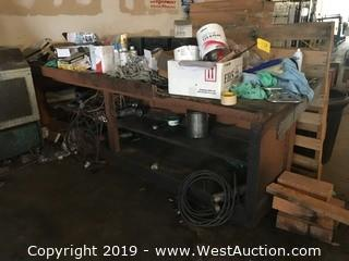 Work Table with Contents: Stereo, Rope, Pneumatic Sander, Plus More