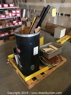 Pallet with Barrels, Lids and More