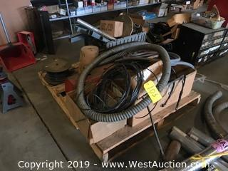 Pallet of Cables, Wire, Tubing, Toolbox, and More
