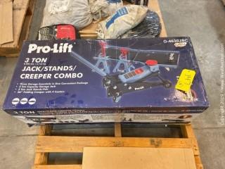 Pro-Lift Combo: 3-Ton Jack, Jack Stands, Creeper