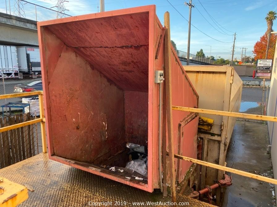 West Auctions Auction Surplus Auction Of Bay Area Scuba And Marine Equipment Manufacturer Item Stationary Trash Compactor With Feeder And Walk Up Ramp